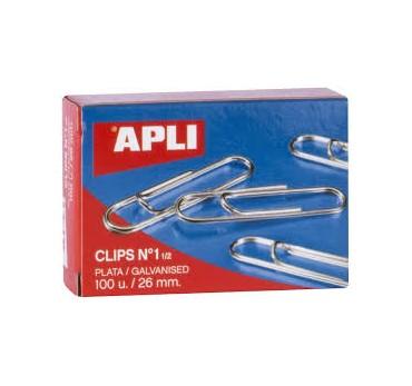 CLIPS APLI PLATA Nº1½ 26MM 100U.