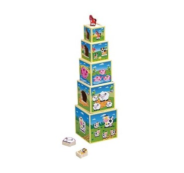 TORRE CUBOS APILABLES MADERA ANIMALES